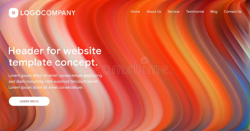 Responsive landing page or web template design with 3D isometric illustration of fluid bright gradient background. Liquid color. Covers set. Fluid shapes royalty free illustration