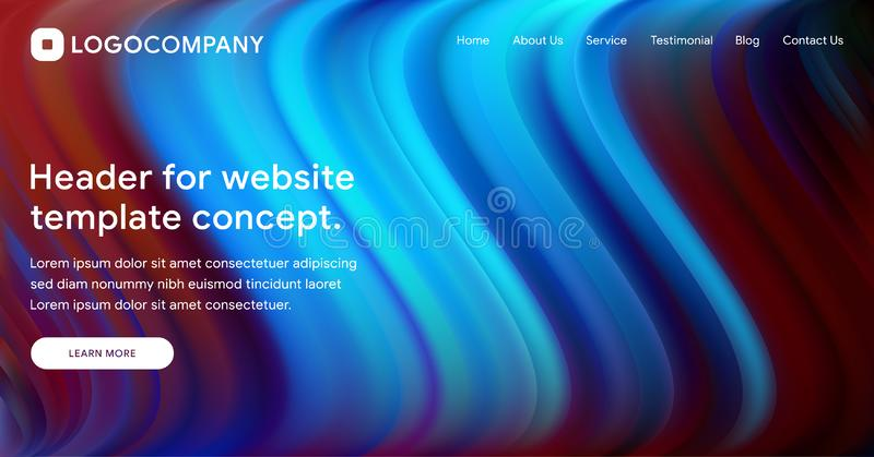 Responsive landing page or web template design with 3D isometric illustration of fluid bright gradient background. Liquid color. Covers set. Fluid shapes stock illustration