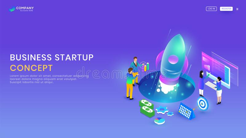 Responsive landing page or website design, illustration of businessmen launching new project. Responsive landing page or website design, illustration of vector illustration