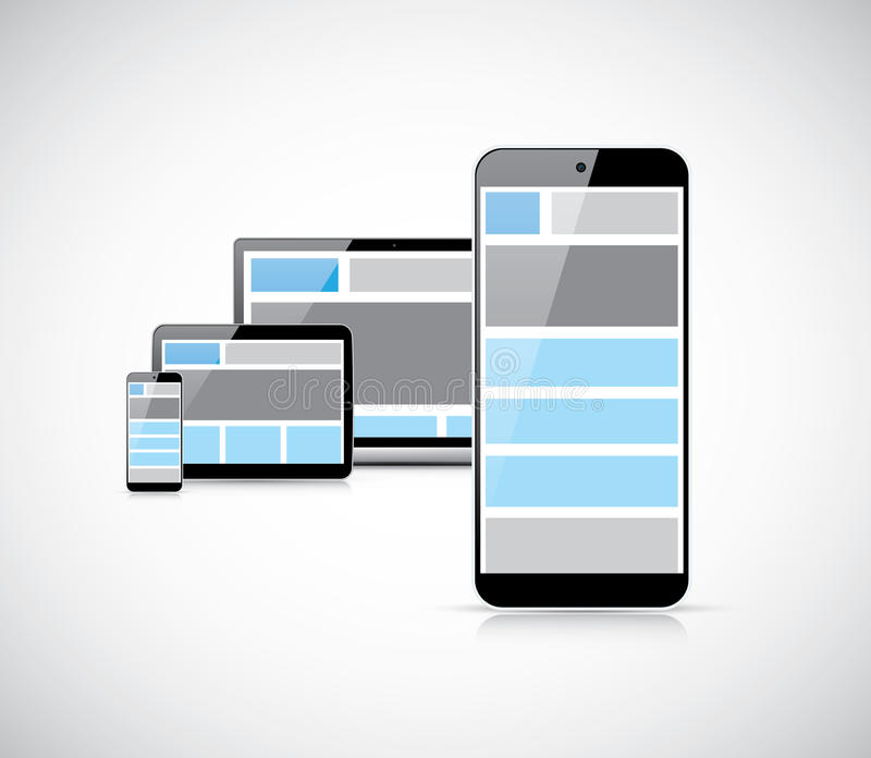 Responsive mobile first web design in smartphone v stock illustration