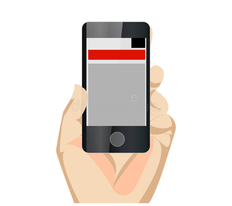 Responsive Mobile Web Site Vertical With Hand. For Showcase Website for Mobile Device vector illustration