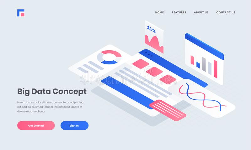 Responsive poster or landing page with infographic multiple website screen. Responsive poster or landing page with infographic multiple website screen for Big vector illustration