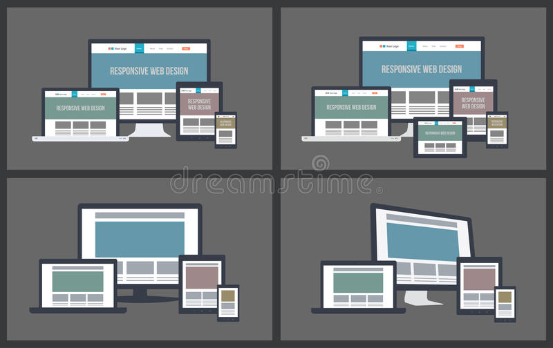 Responsive Screen Mockups stock illustration