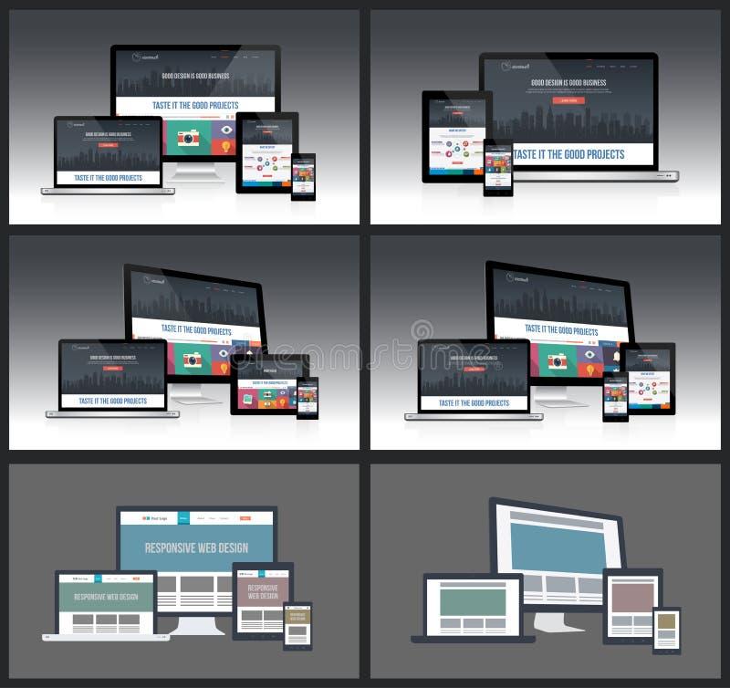 Responsive Screen Mockups vector illustration