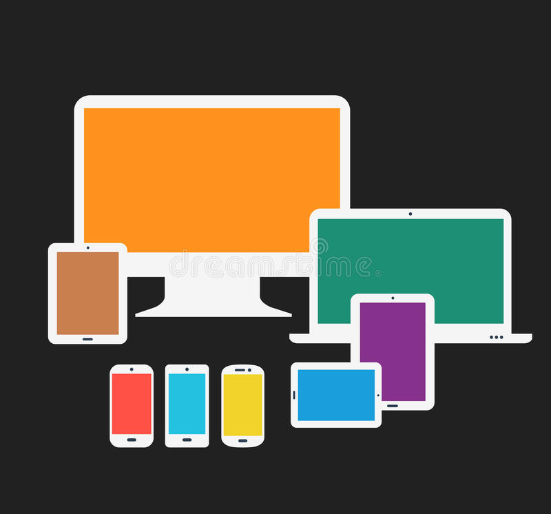 Responsive technology devices mock up stock illustration
