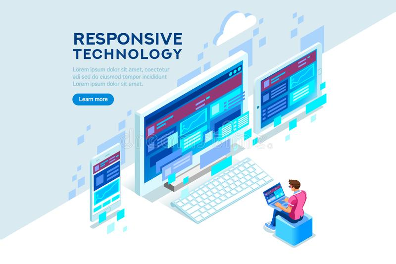 Responsive Internet Creation Conceptual Technology Illustration. Responsive internet creation, conceptual screen interface for mobile. Building a device display royalty free illustration