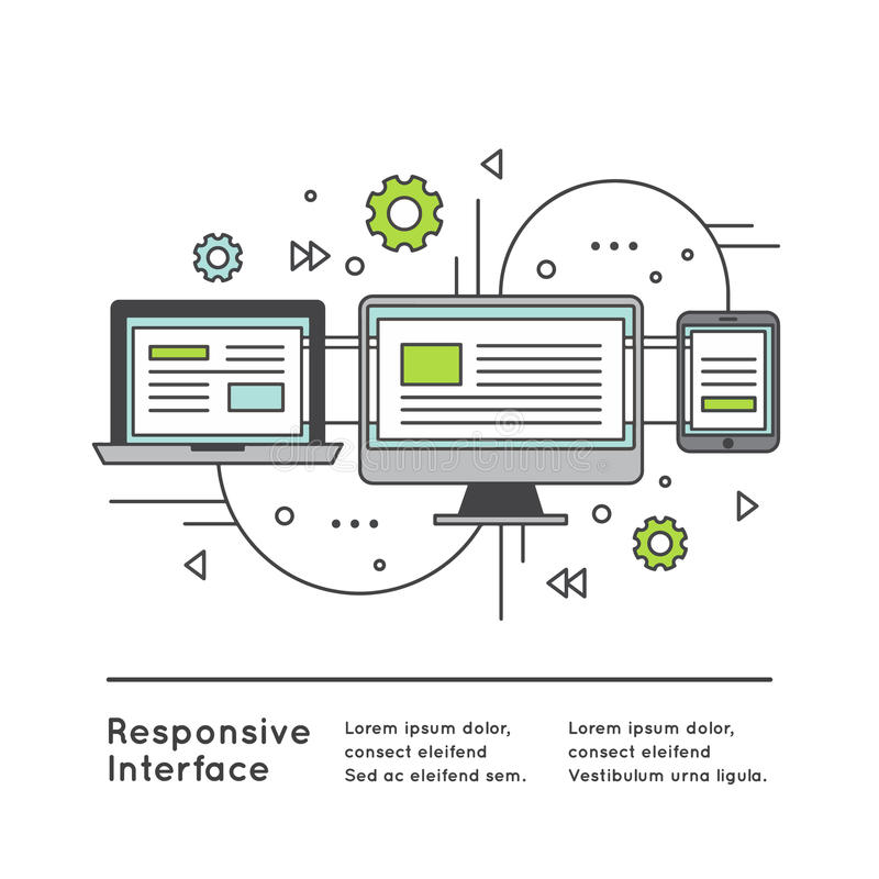 Responsive User Interface Web Design. Vector Icon Style Illustration of Responsive User Interface Web Design stock illustration