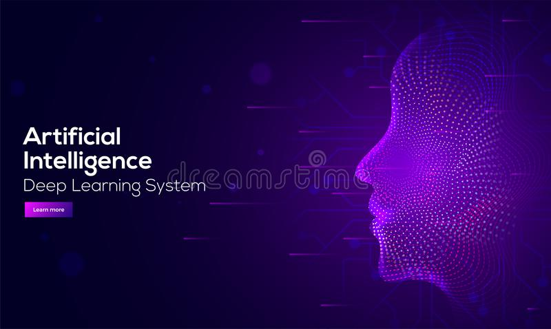 Responsive web banner design with illustration of human face mad. E by tiny particles between glowing digital network for Artificial Intelligence (AI) deep royalty free illustration