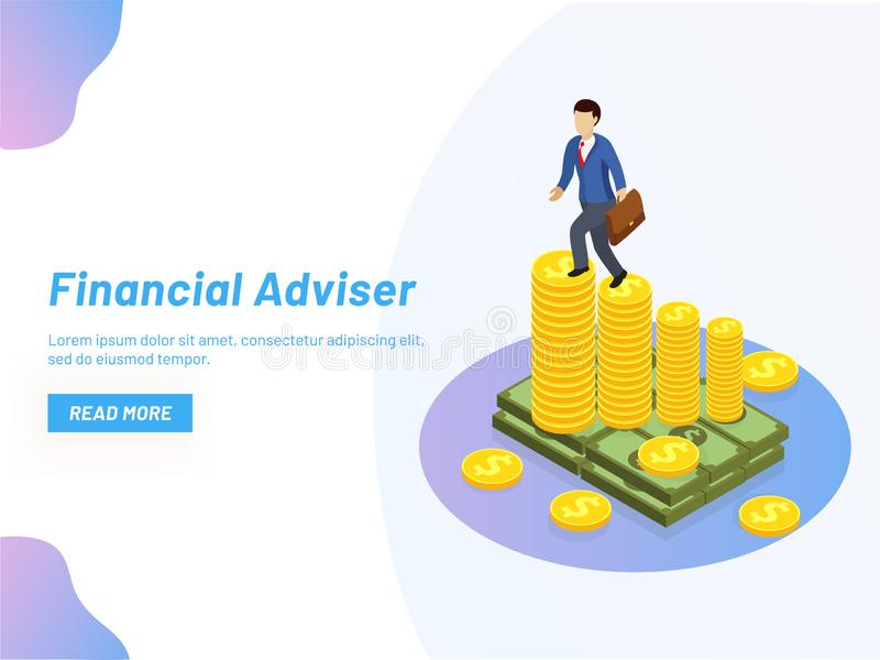 Responsive web banner design, Isometric illustration of business. Man on coin stack graph, Financial Adviser or monetary solution concept vector illustration
