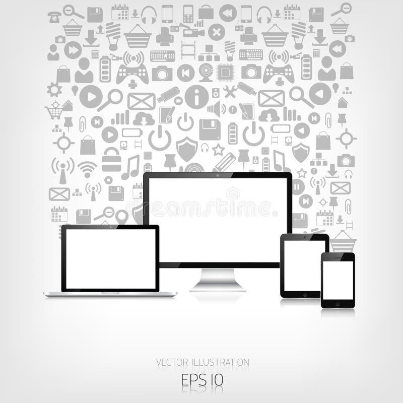 Responsive web design. Adaptive user interface. Digital devises. Laptop, tablet, monitor, smartphone. Web site template vector illustration