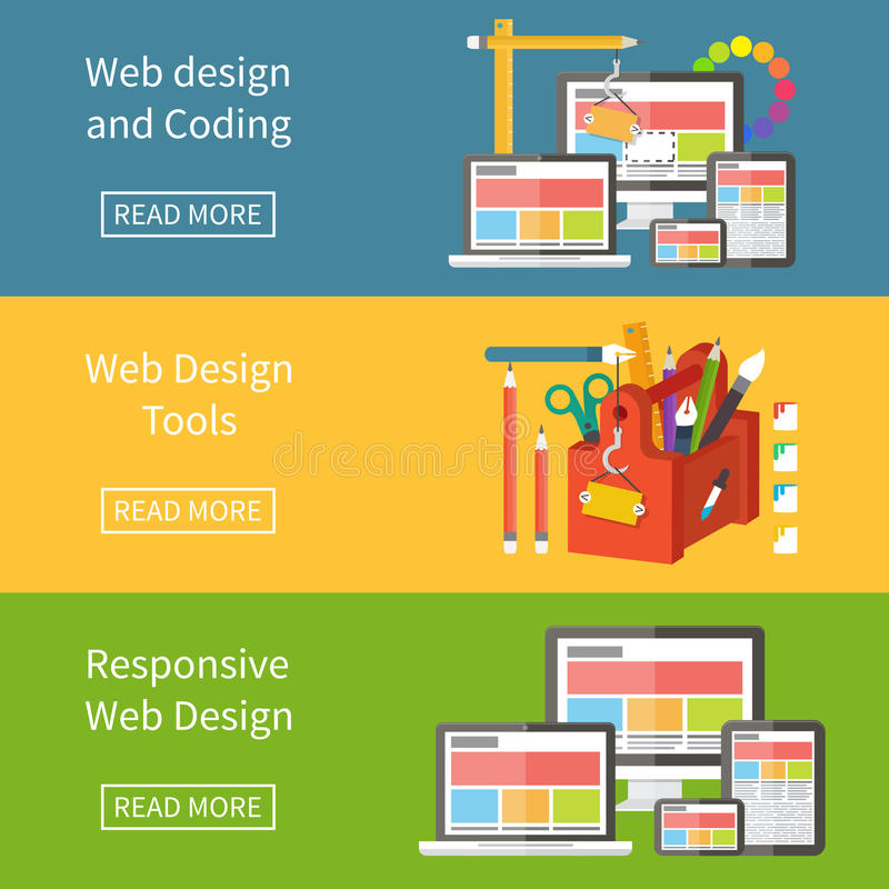 Responsive web design, application development and royalty free illustration