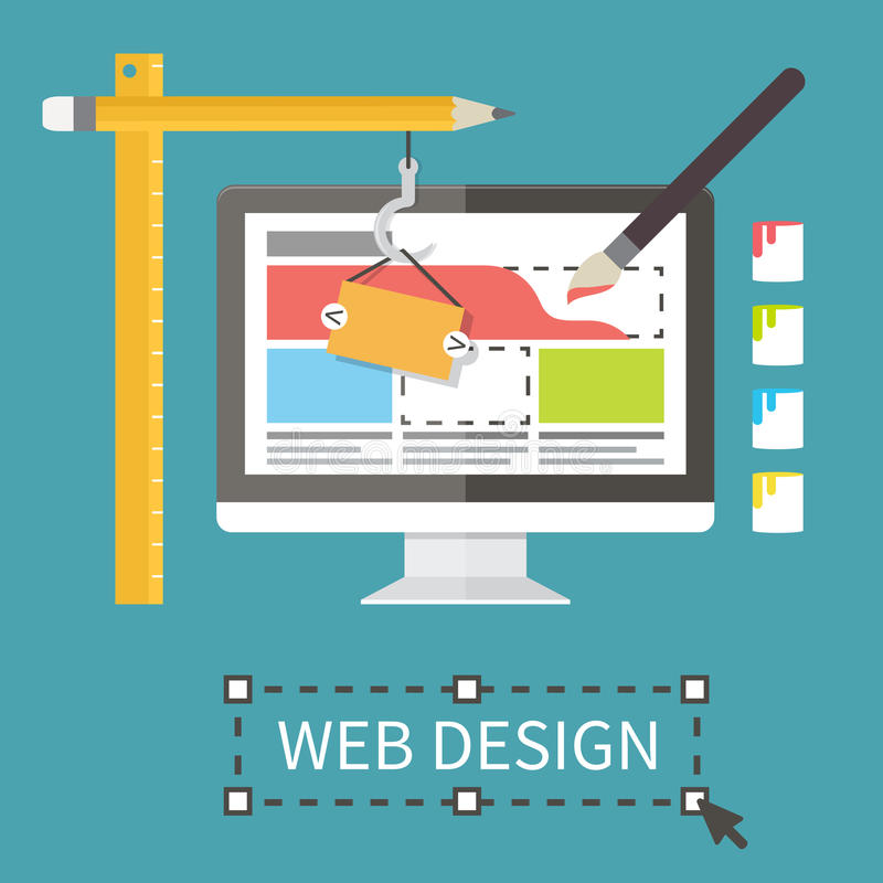 Responsive web design, application development and. Page construction. Flat style vector illustration royalty free illustration
