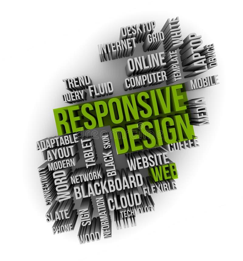 Responsive web design. On a cloud words stock illustration