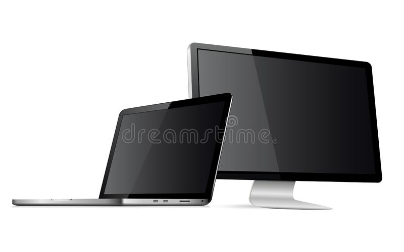Responsive web design computer display with laptop mock up. Responsive web design computer display with laptop isolated. Vector illustration vector illustration