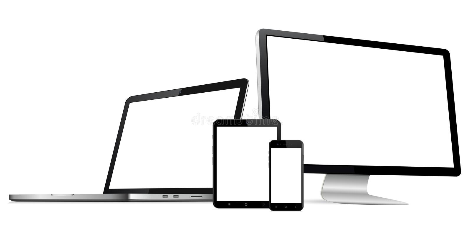 Responsive web design computer display with laptop and tablet pc with mobile phone isolated. Responsive web design computer display, laptop and tablet pc with vector illustration
