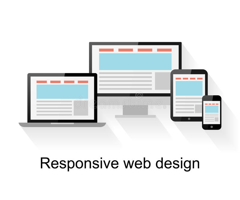 Responsive web design on computer, tablet PC, notebook and smart phone. On white background stock illustration