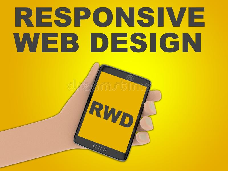 RESPONSIVE WEB DESIGN concept. 3D illustration of RWD script on the screen of a cellulr phone held by hand, isolated on green gradient, with the script vector illustration