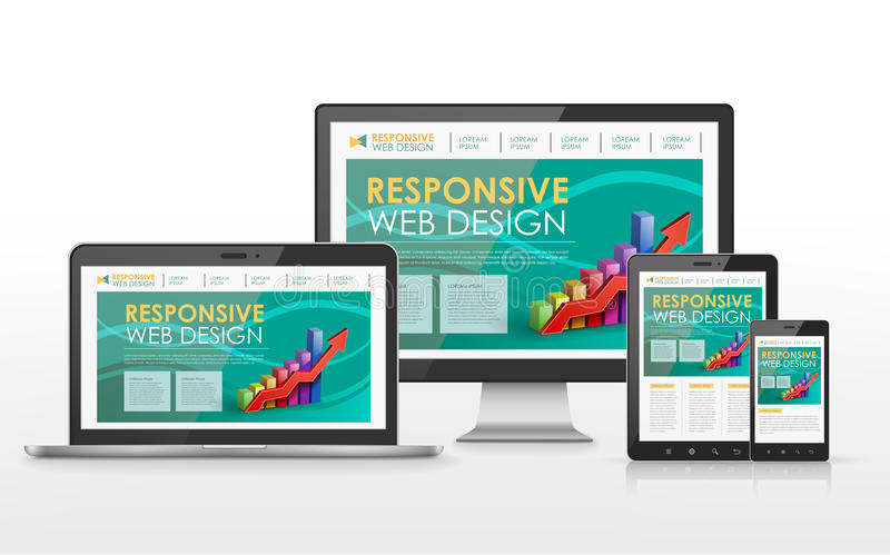 Responsive web design concept in different devices royalty free illustration