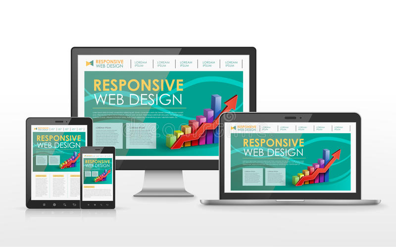 Responsive web design concept in different devices stock illustration