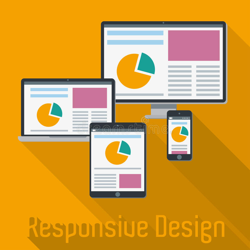 Responsive Web Design Concept. Responsive Web Design Elements Vector Illustration stock illustration