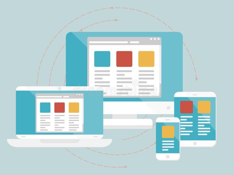 Responsive web design. Concept. Flat design web icons stock illustration