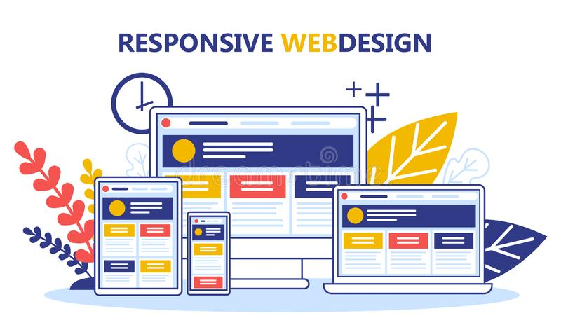 Responsive web design concept. Website development, programming. And making responsive interface. Graphic design. New product with a good usability. Vector royalty free illustration