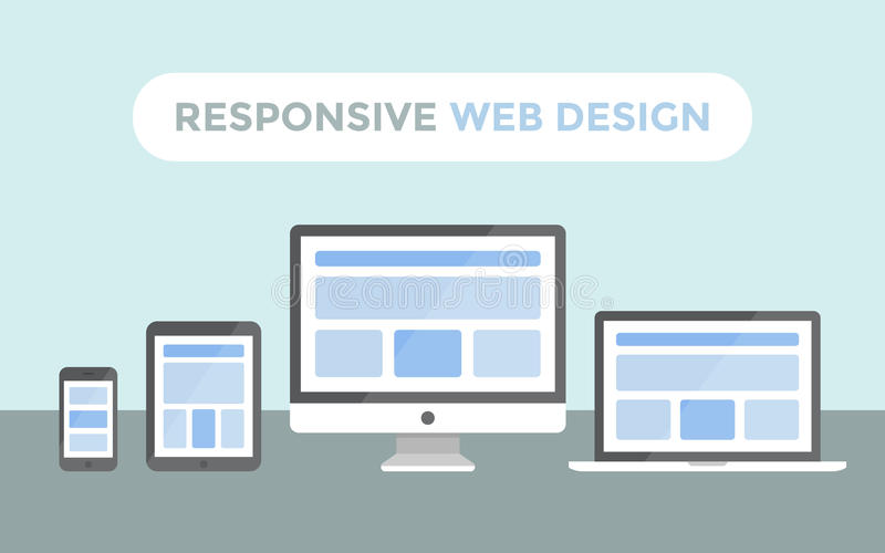 Responsive Web Design. Concept, website page on screen of desktop computer, laptop, tablet pc and smartphone stock illustration