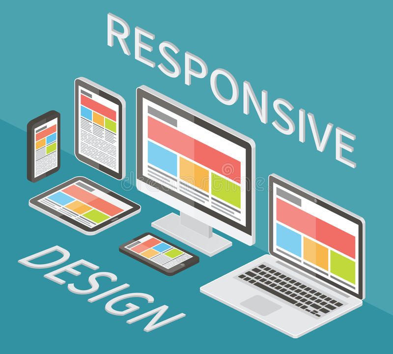 Responsive web design, 3d isometric flat vector. royalty free illustration