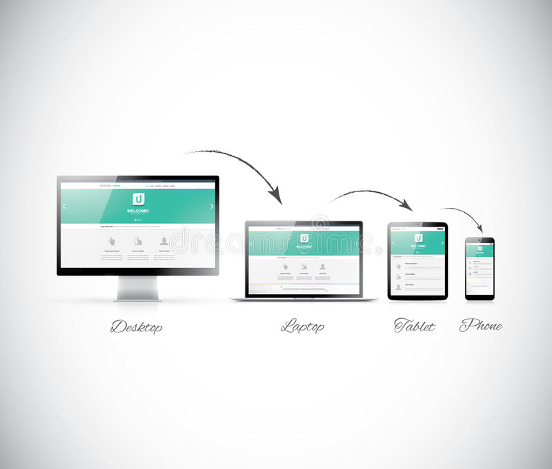 Responsive web design development stock illustration