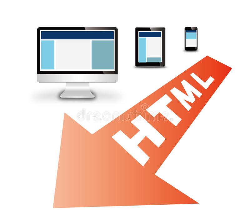 Responsive web design. On devices royalty free illustration