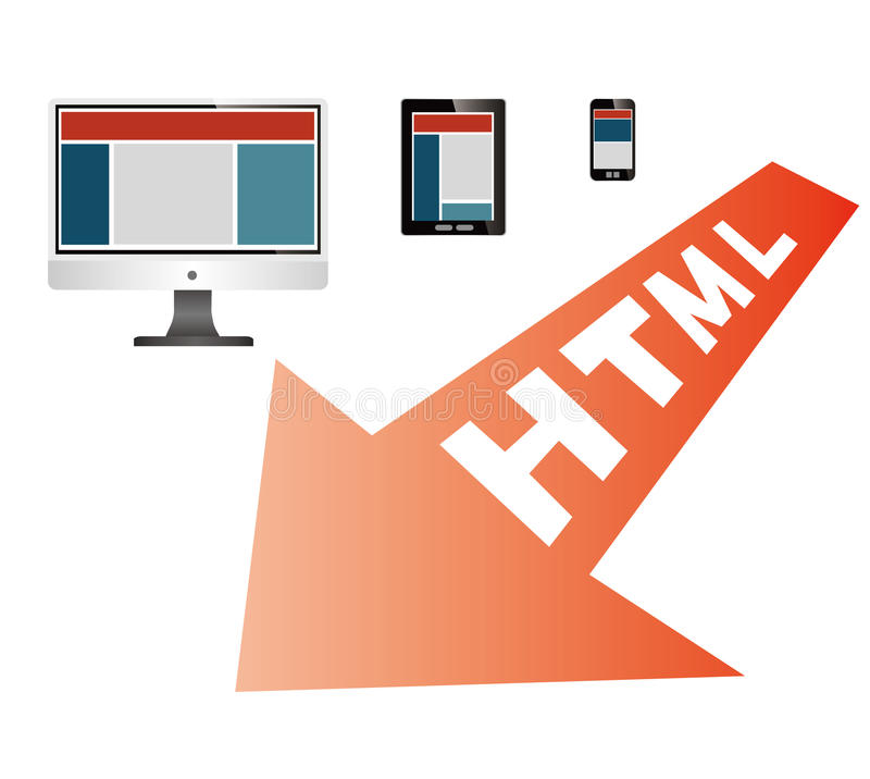 Responsive web design. Responsive web on different devices stock illustration
