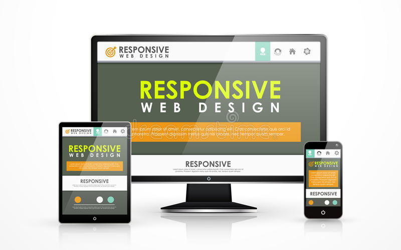 Responsive web design in different devices royalty free illustration