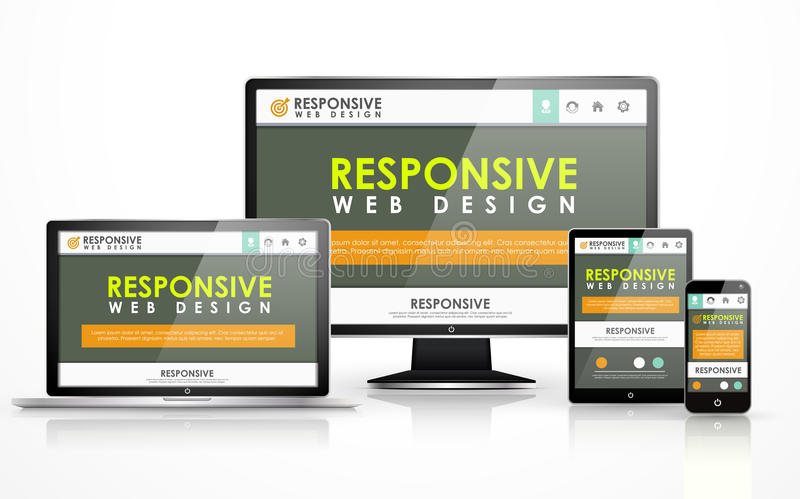 Responsive web design in different devices. Responsive web design concept in flat screen TV, tablet, smart phone and laptop stock illustration