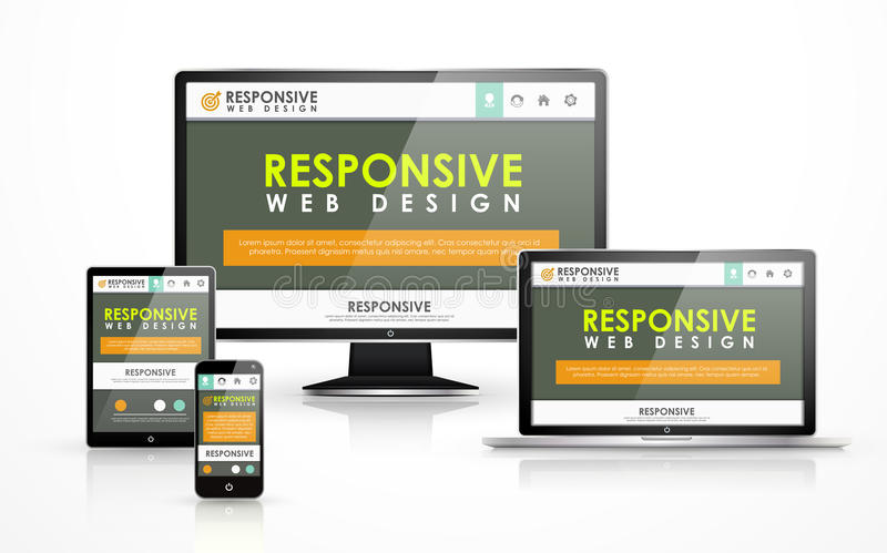 Responsive web design in different devices vector illustration