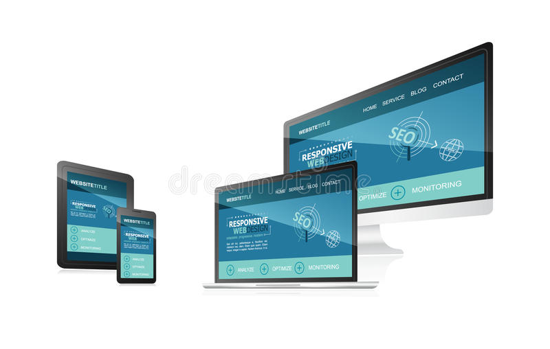 Responsive web design with different devices. royalty free illustration