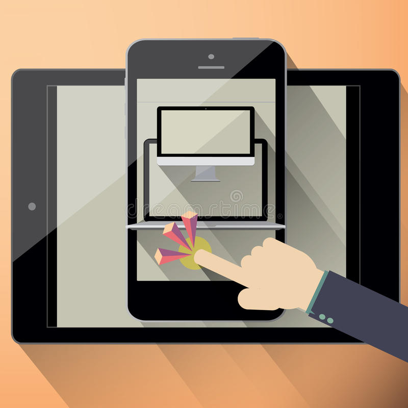 Responsive web design on different devices vector illustration