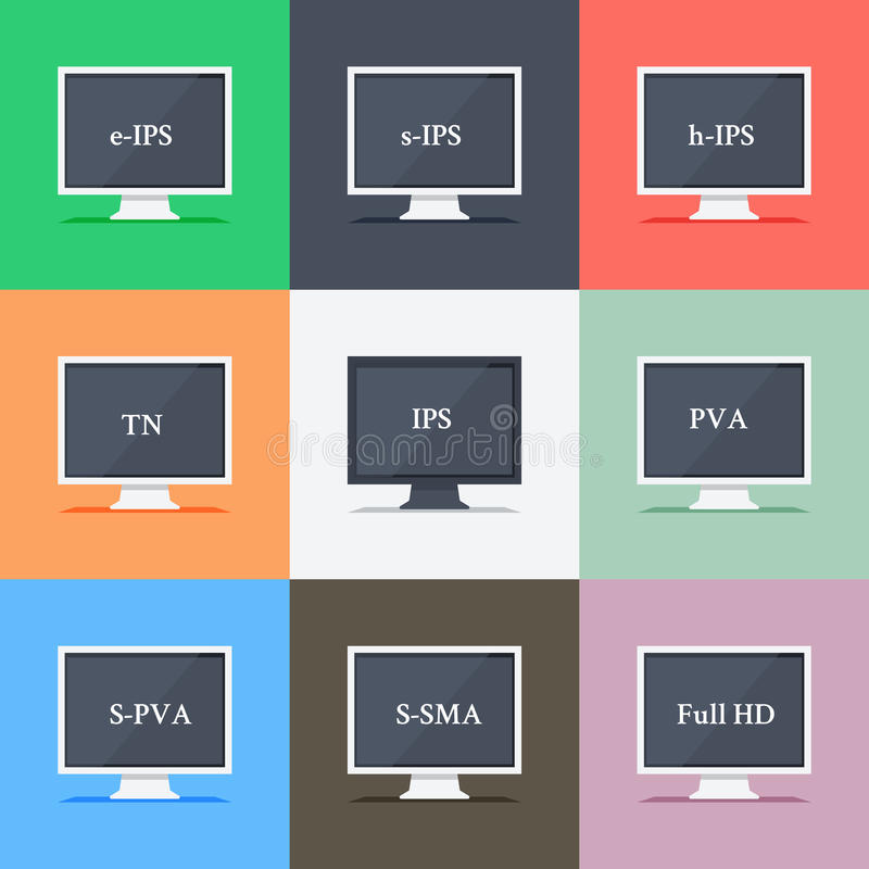 Responsive web design on different monitors. Responsive web design on monitors with different aspect ratio size IPS, TN, e-IPS, Full HD in flat design royalty free illustration