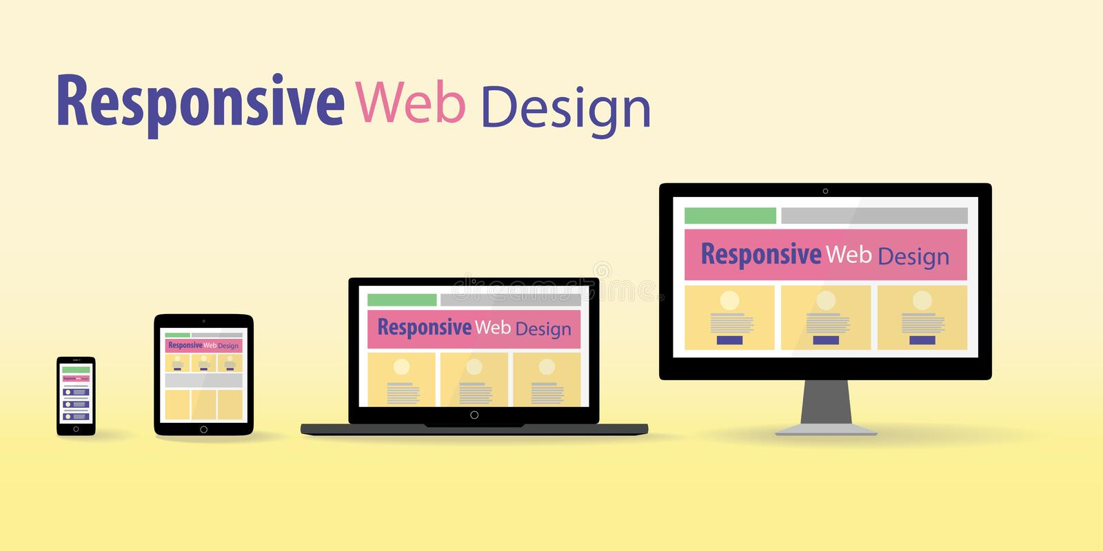 Responsive web design. In electronic devices royalty free illustration