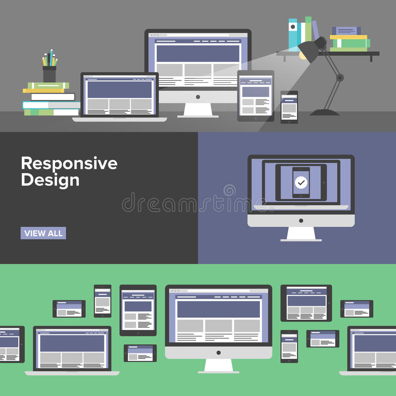 Responsive web design flat banners. Flat banner set of responsive design web interface, creative studio workflow, html website coding for desktop and mobile