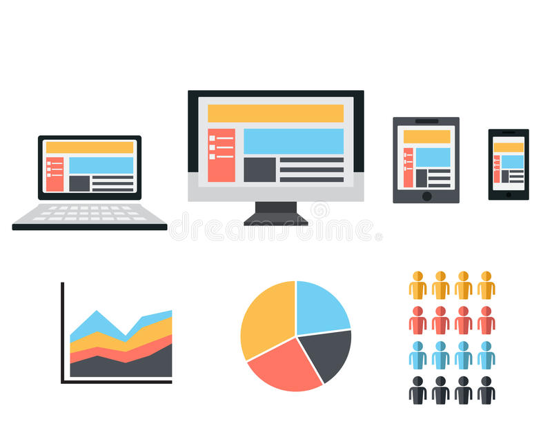 Responsive Web Design. Flat Icon vector illustration