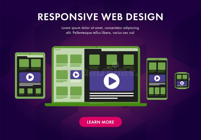 Responsive web design flat vector illustration. UI flat design in trendy color, seo concept with gadgets vector illustration