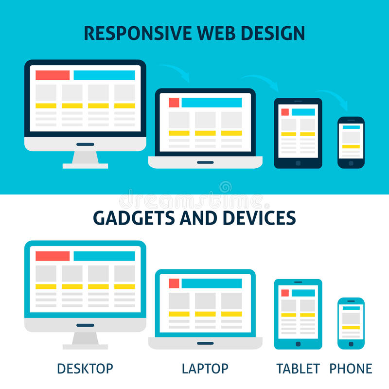 Responsive Web Design Gadgets and Devices Flat Concept. Vector Illustration of Laptop Desktop Tablet Phone Devices Horizontal Banners stock illustration