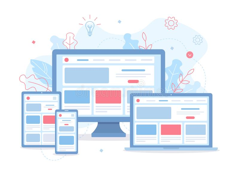 Responsive web design. Landing page is open on different devices: laptop, computer, tablet and smartphone. Responsive web design. Flat vector illustration royalty free illustration