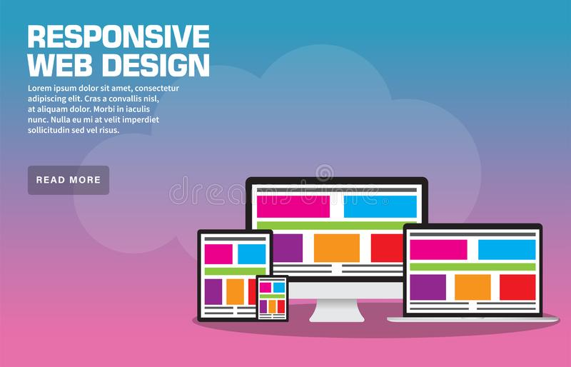 Responsive Web Design Landing Page Template. Include EPS 10 and JPEG High Resolution vector illustration