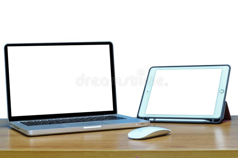Responsive web design on laptop and tablet pc., isolated royalty free stock images