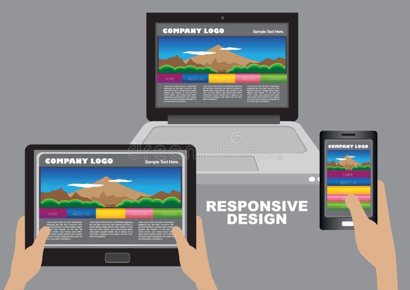 Responsive web design Layout Design. Same business website appearing on desktop computer, digital tablet computer and smart phone. Vector layout design for vector illustration