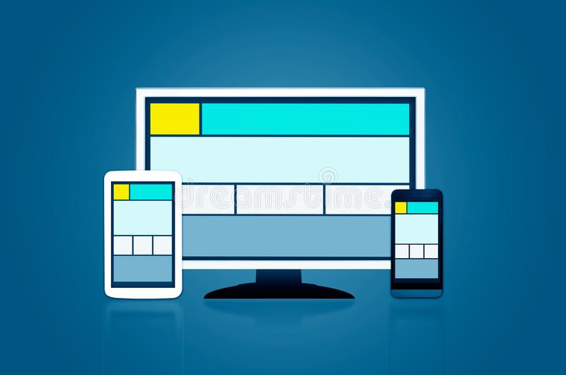 Responsive web design layout on different devices. royalty free illustration