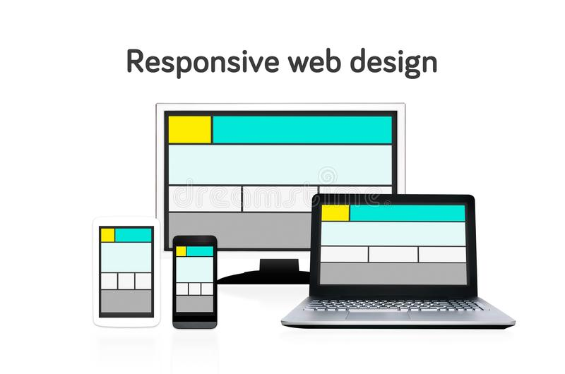 Responsive web design layout on different devices. Set on white background vector illustration