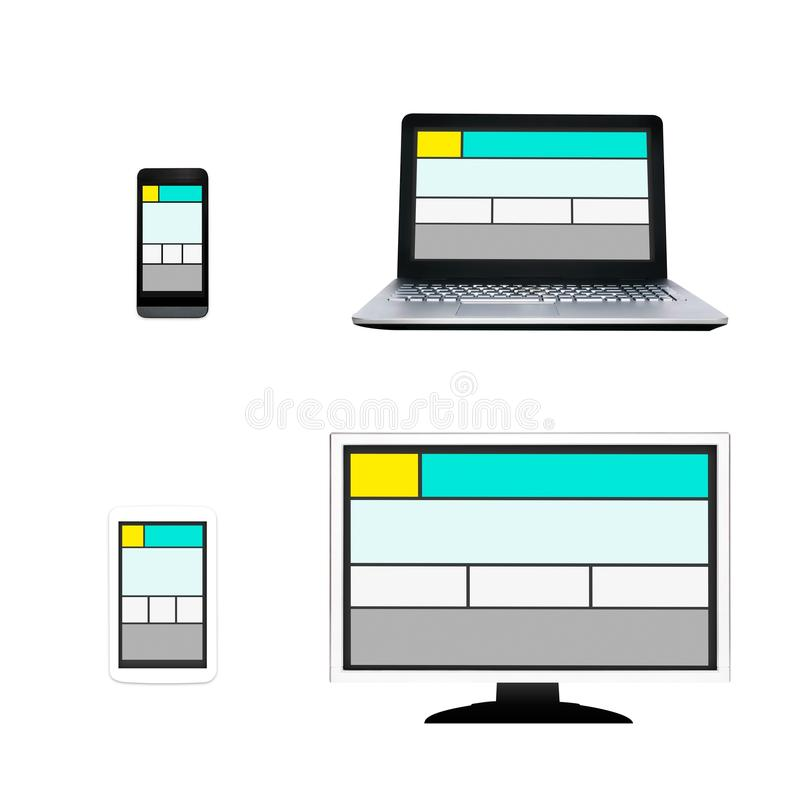 Responsive web design layout on different devices. stock illustration