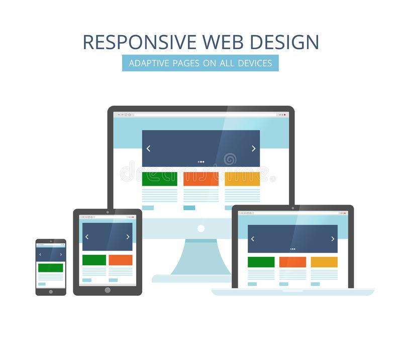 Responsive web design. Minimalist pages layout template adaptive for all devices computer tablet laptop and smartphone stock illustration